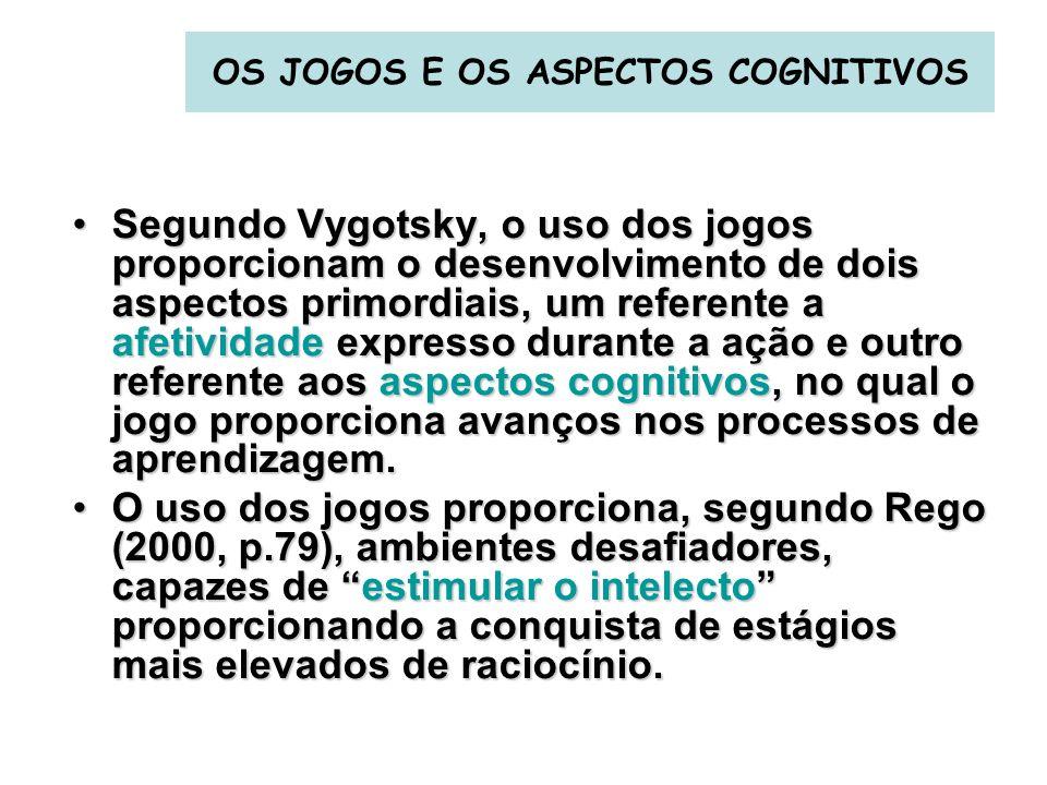 OS JOGOS E OS ASPECTOS COGNITIVOS Segundo Vygotsky, o uso dos jogos proporcionam o desenvolvimento de dois aspectos primordiais, um referente a afetiv