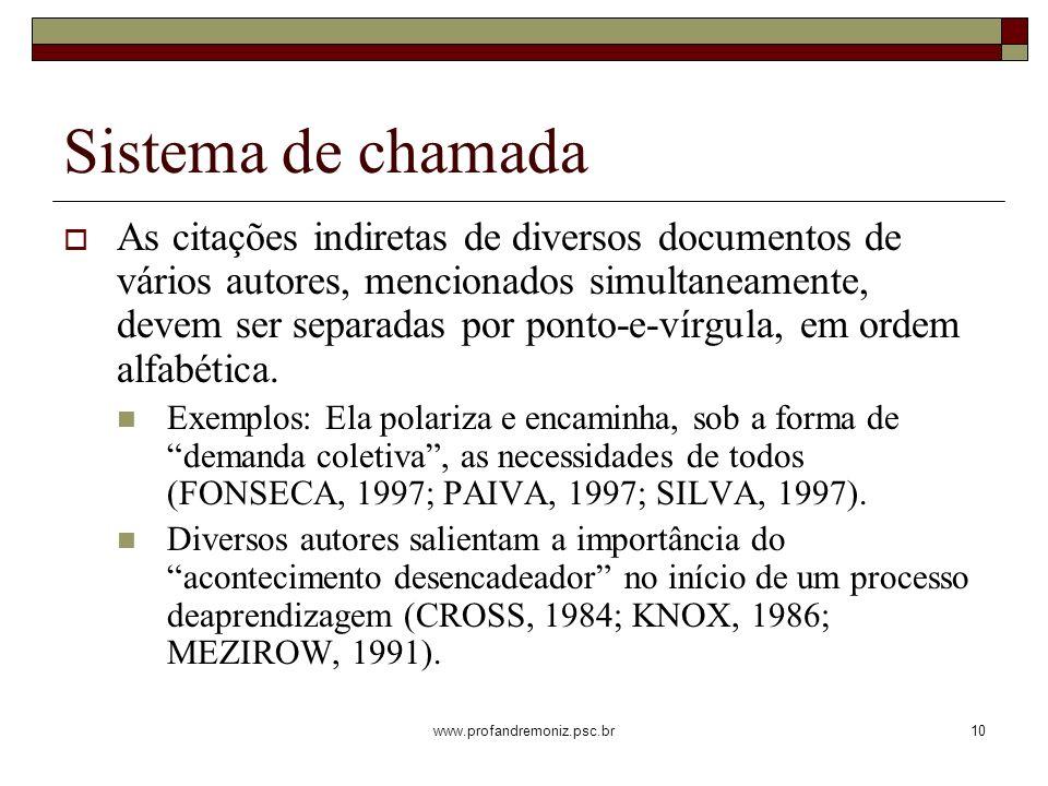 www.profandremoniz.psc.br10 As citações indiretas de diversos documentos de vários autores, mencionados simultaneamente, devem ser separadas por ponto