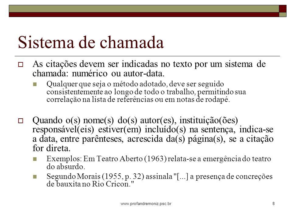 www.profandremoniz.psc.br8 Sistema de chamada As citações devem ser indicadas no texto por um sistema de chamada: numérico ou autor-data. Qualquer que