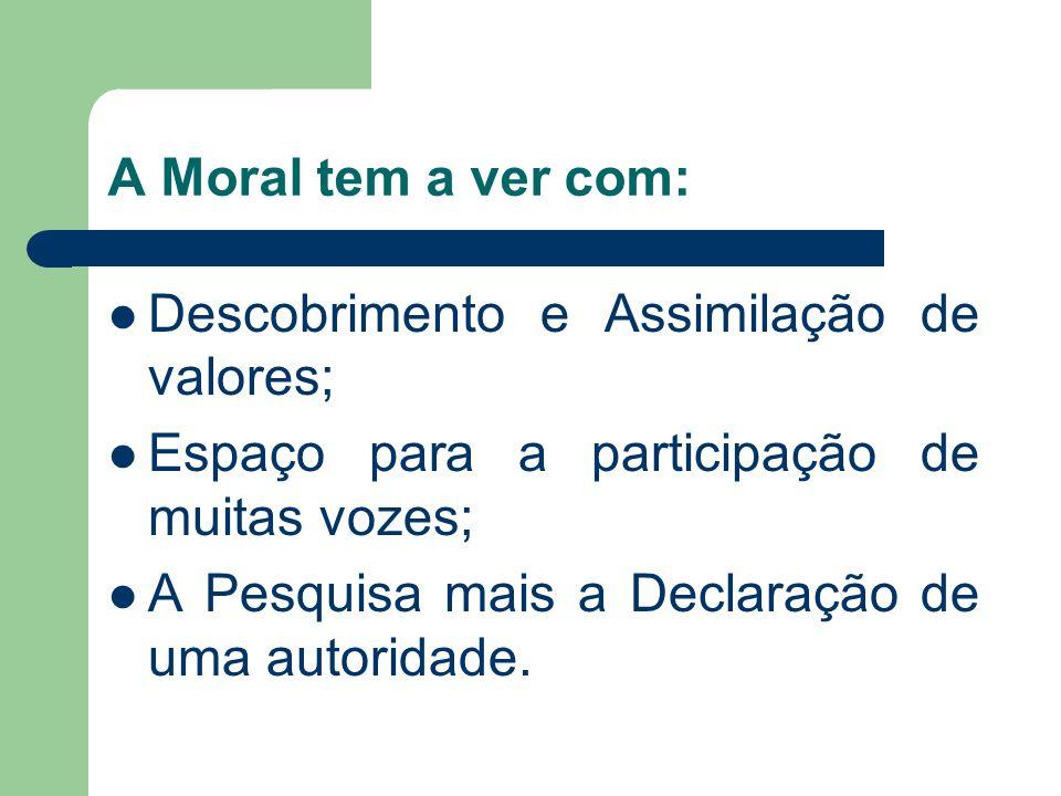 A Moral tem a ver com: Descobrimento e Assimilação de valores; Espaço para a participação de muitas vozes; A Pesquisa mais a Declaração de uma autorid