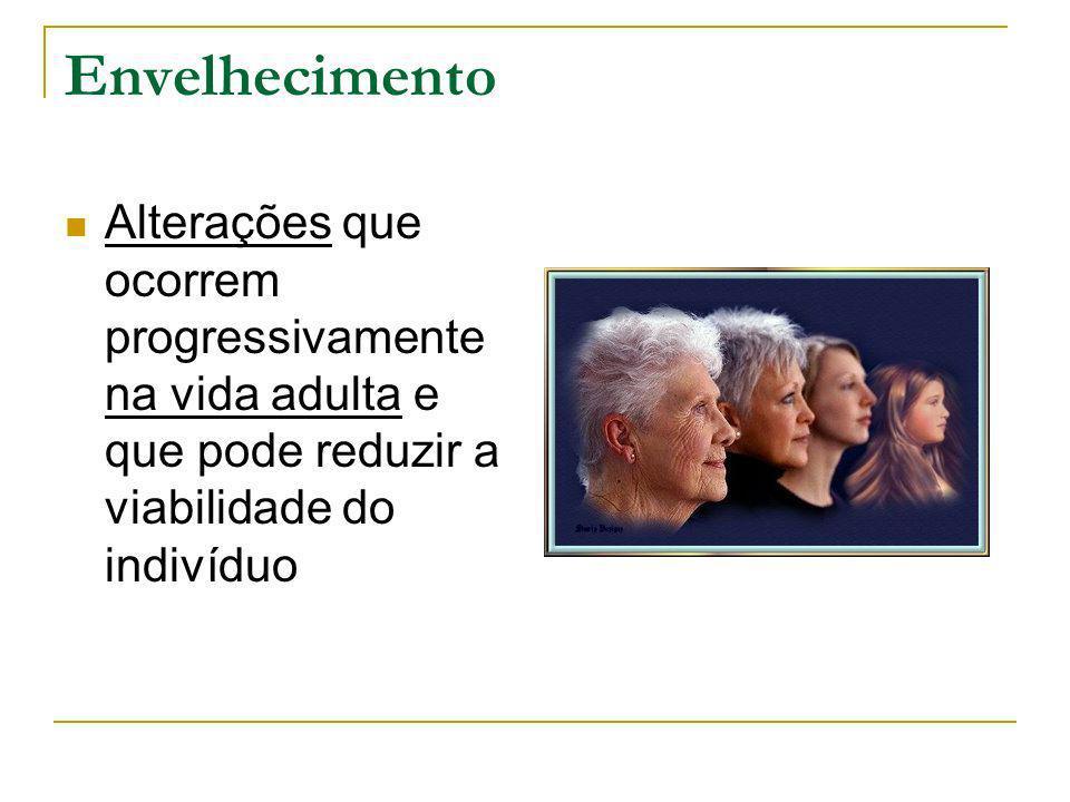 Envelhecimento Alterações que ocorrem progressivamente na vida adulta e que pode reduzir a viabilidade do indivíduo