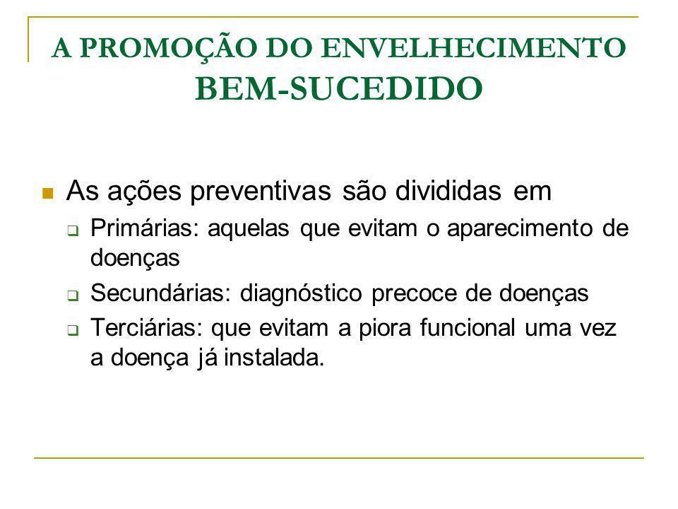A PROMOÇÃO DO ENVELHECIMENTO BEM-SUCEDIDO As ações preventivas são divididas em Primárias: aquelas que evitam o aparecimento de doenças Secundárias: d