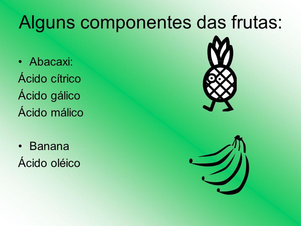 Alguns componentes das frutas: Abacaxi: Ácido cítrico Ácido gálico Ácido málico Banana Ácido oléico