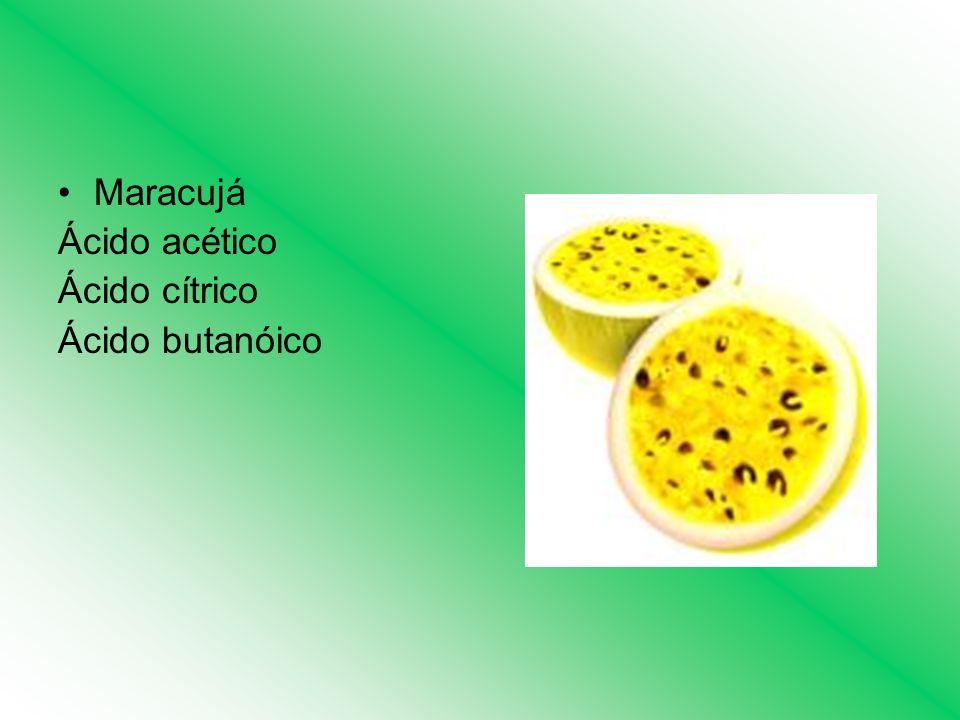 Maracujá Ácido acético Ácido cítrico Ácido butanóico