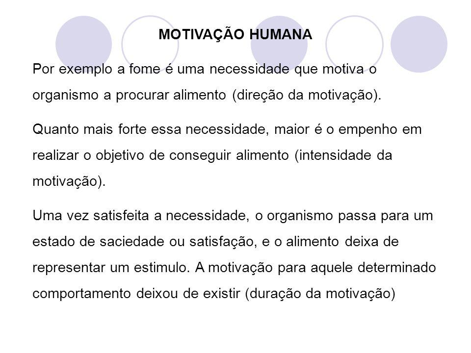 MOTIVAÇÃO HUMANA Por exemplo a fome é uma necessidade que motiva o organismo a procurar alimento (direção da motivação). Quanto mais forte essa necess