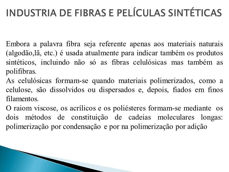 A listagem das fibras sintéticas, que em 1900 incluía apenas a nitrocelulose, tem hoje muitos produtos, sendo os mais importantes as poliamidas ou náilons as fibras feitas de poliacilonitrila, os poliésteres,as olefinas, as fibras spandex (lycra), as fibras de vidro, e as fibras celulósicas.