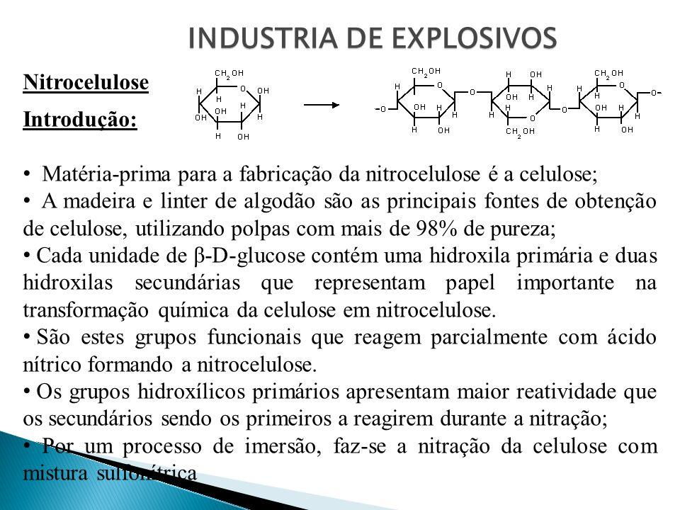 INDUSTRIA DE EXPLOSIVOS Nitrocelulose Introdução: Matéria-prima para a fabricação da nitrocelulose é a celulose; A madeira e linter de algodão são as