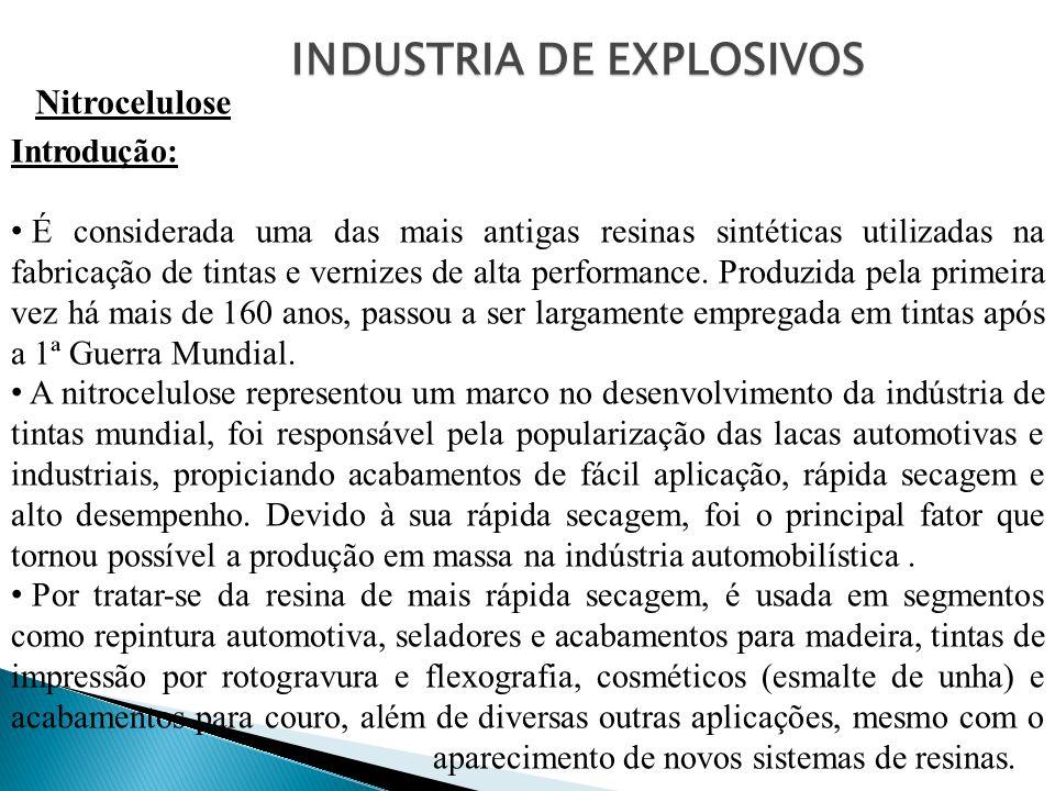 INDUSTRIA DE EXPLOSIVOS Nitrocelulose Introdução: É considerada uma das mais antigas resinas sintéticas utilizadas na fabricação de tintas e vernizes