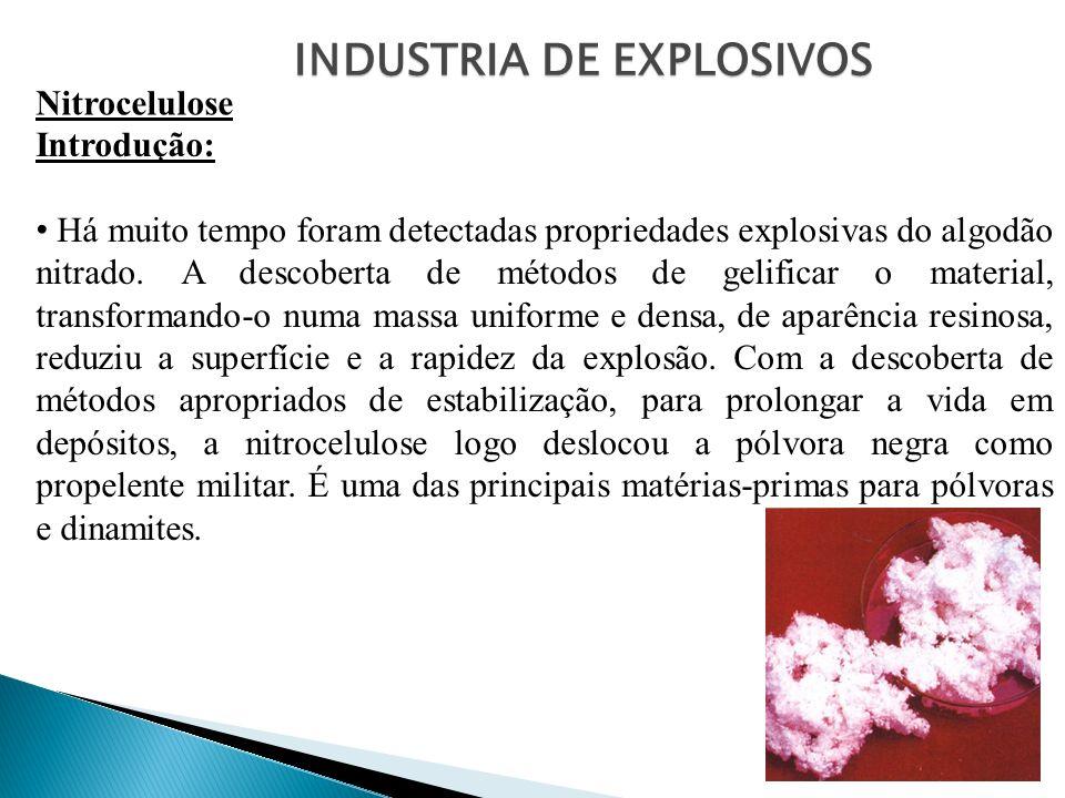 INDUSTRIA DE EXPLOSIVOS Nitrocelulose Introdução: Há muito tempo foram detectadas propriedades explosivas do algodão nitrado. A descoberta de métodos