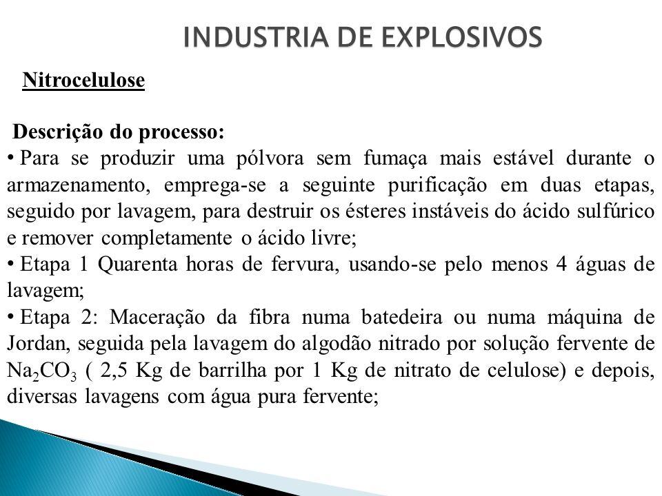 INDUSTRIA DE EXPLOSIVOS Nitrocelulose Descrição do processo: Para se produzir uma pólvora sem fumaça mais estável durante o armazenamento, emprega-se