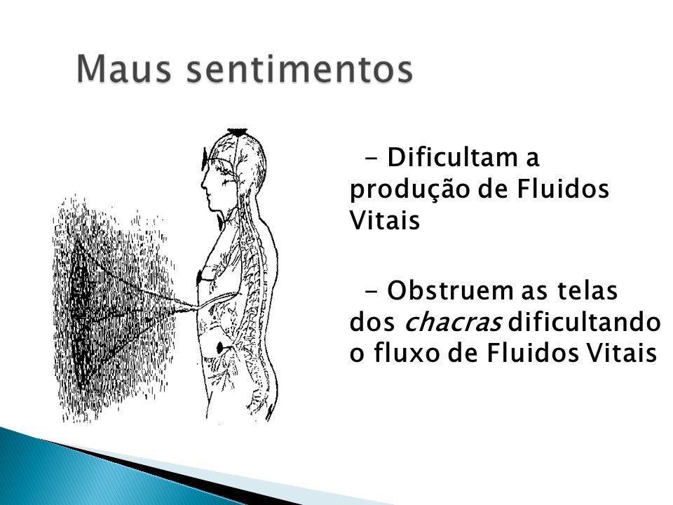 - Dificultam a produção de Fluidos Vitais - Obstruem as telas dos chacras dificultando o fluxo de Fluidos Vitais