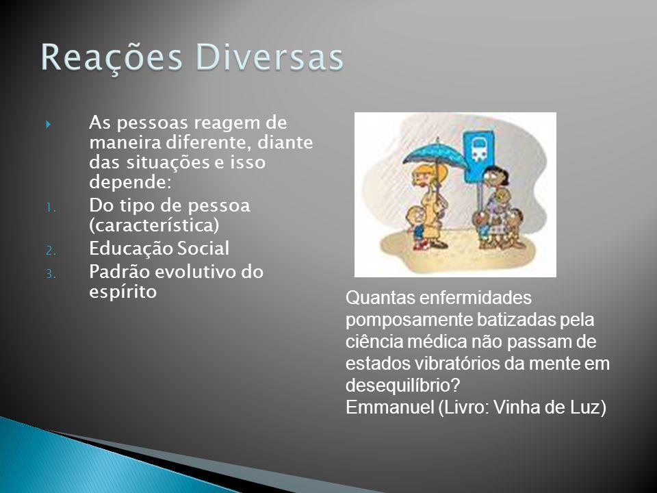 As pessoas reagem de maneira diferente, diante das situações e isso depende: 1. Do tipo de pessoa (característica) 2. Educação Social 3. Padrão evolut