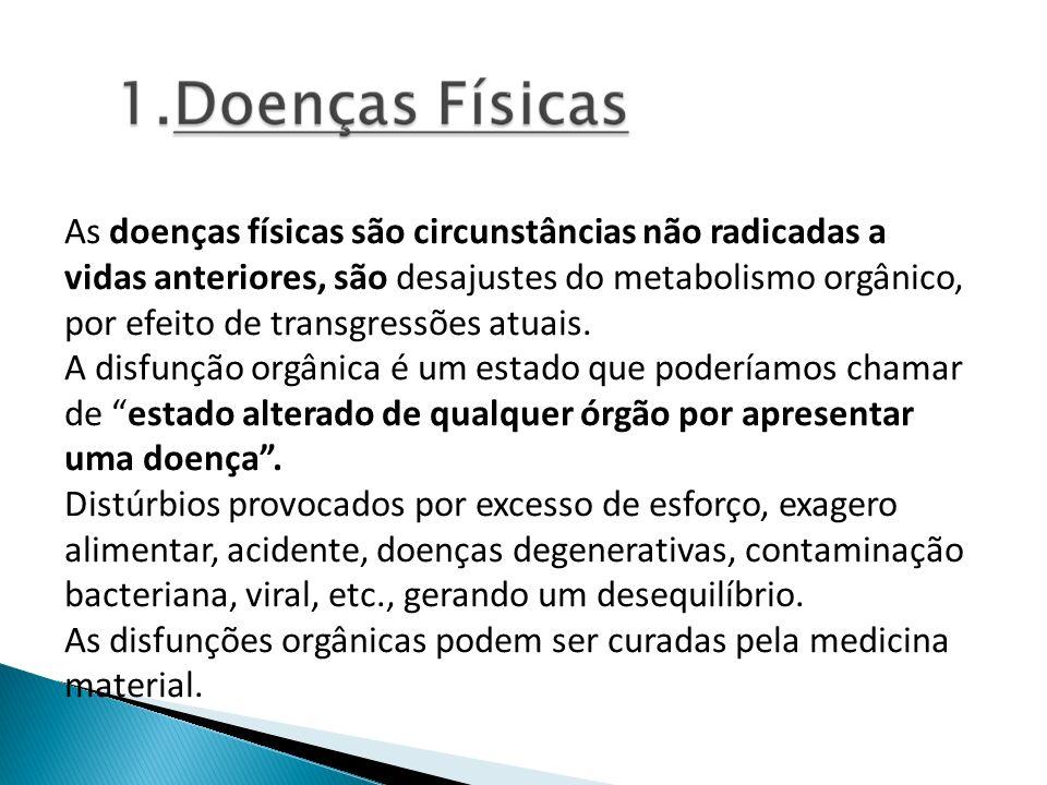 As doenças físicas são circunstâncias não radicadas a vidas anteriores, são desajustes do metabolismo orgânico, por efeito de transgressões atuais. A