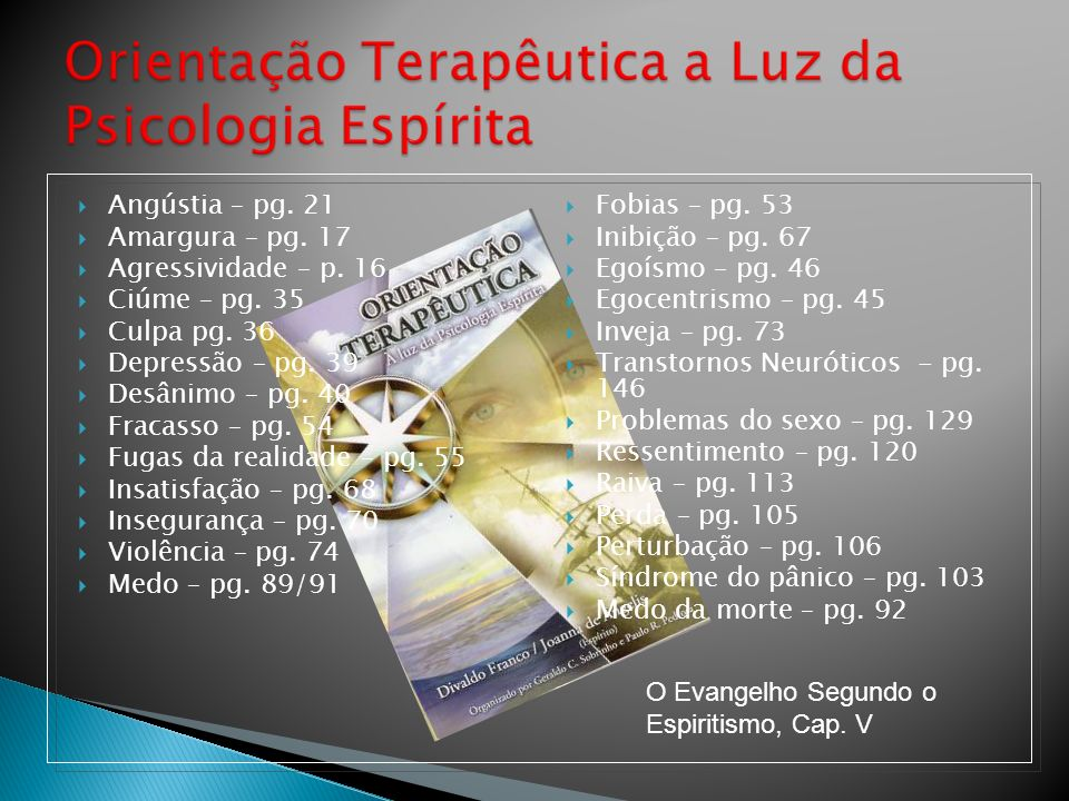 Fobias – pg. 53 Inibição – pg. 67 Egoísmo – pg. 46 Egocentrismo – pg. 45 Inveja – pg. 73 Transtornos Neuróticos - pg. 146 Problemas do sexo – pg. 129