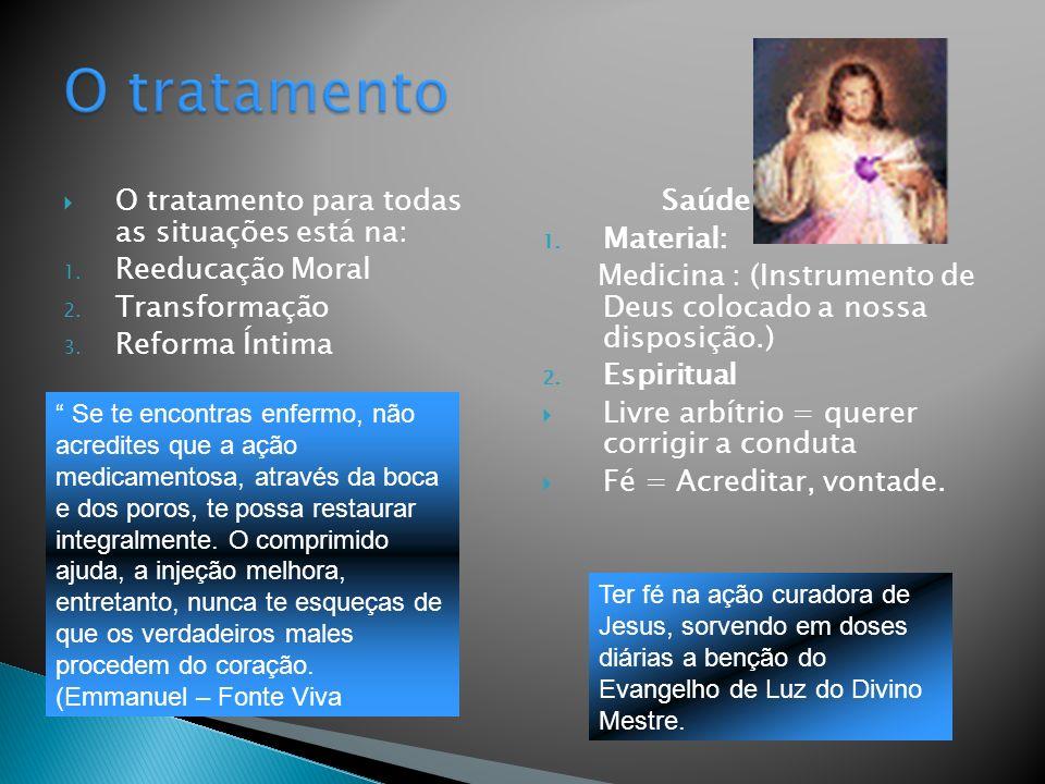 O tratamento para todas as situações está na: 1. Reeducação Moral 2. Transformação 3. Reforma Íntima Saúde 1. Material: Medicina : (Instrumento de Deu