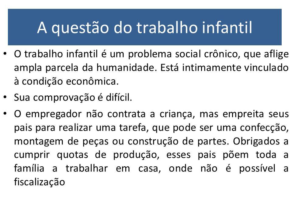 A questão do trabalho infantil O trabalho infantil é um problema social crônico, que aflige ampla parcela da humanidade. Está intimamente vinculado à