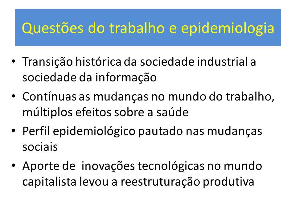 Questões do trabalho e epidemiologia Transição histórica da sociedade industrial a sociedade da informação Contínuas as mudanças no mundo do trabalho,