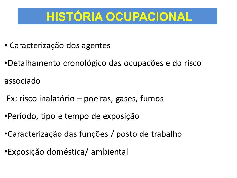 HISTÓRIA OCUPACIONAL Caracterização dos agentes Detalhamento cronológico das ocupações e do risco associado Ex: risco inalatório – poeiras, gases, fum