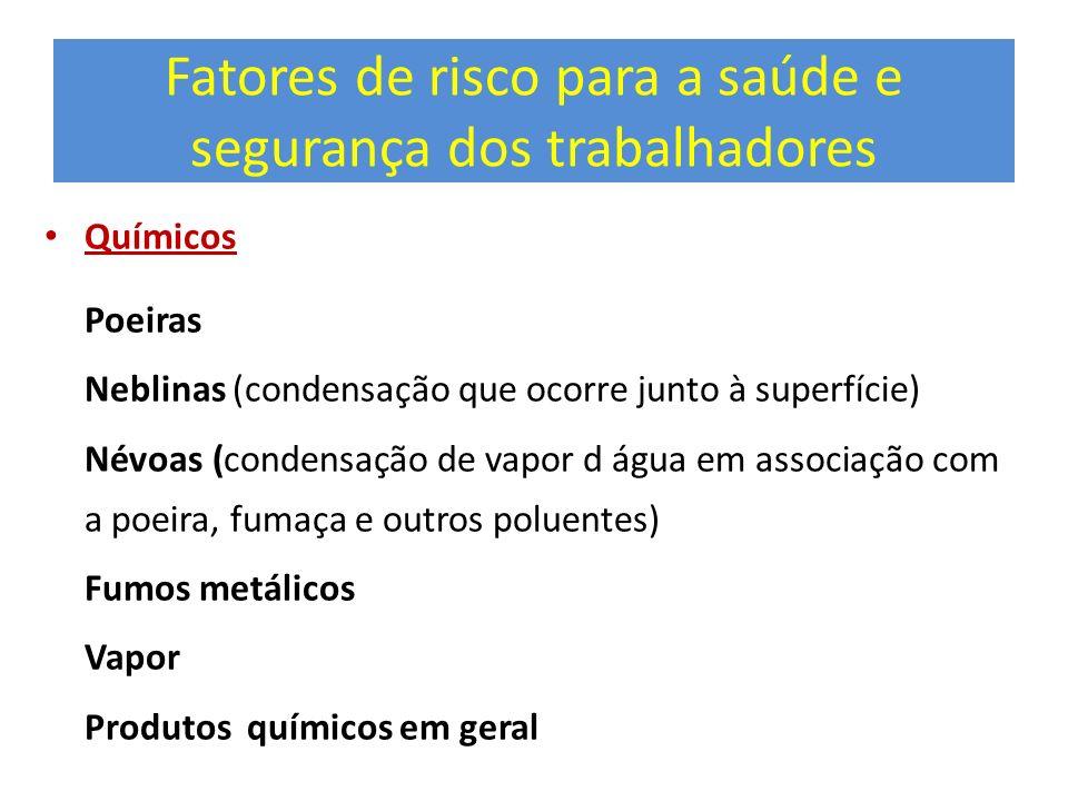 Fatores de risco para a saúde e segurança dos trabalhadores Químicos Poeiras Neblinas (condensação que ocorre junto à superfície) Névoas (condensação