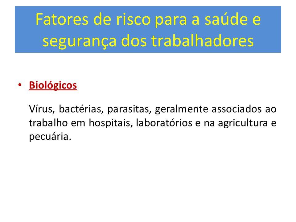 Fatores de risco para a saúde e segurança dos trabalhadores Biológicos Vírus, bactérias, parasitas, geralmente associados ao trabalho em hospitais, la