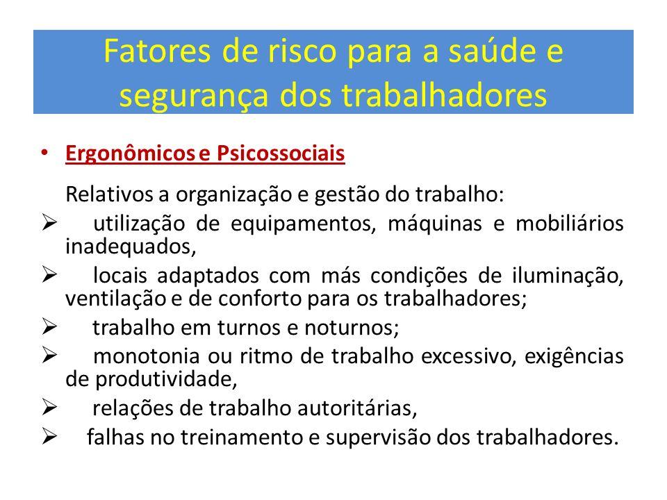 Fatores de risco para a saúde e segurança dos trabalhadores Ergonômicos e Psicossociais Relativos a organização e gestão do trabalho: utilização de eq