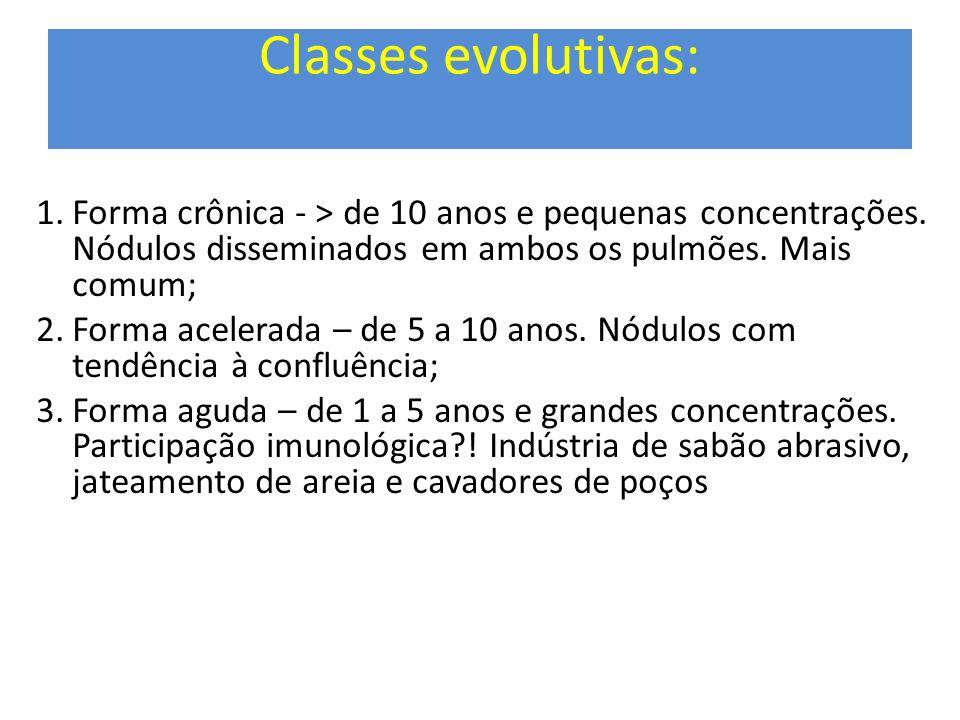 Classes evolutivas: 1.Forma crônica - > de 10 anos e pequenas concentrações. Nódulos disseminados em ambos os pulmões. Mais comum; 2.Forma acelerada –