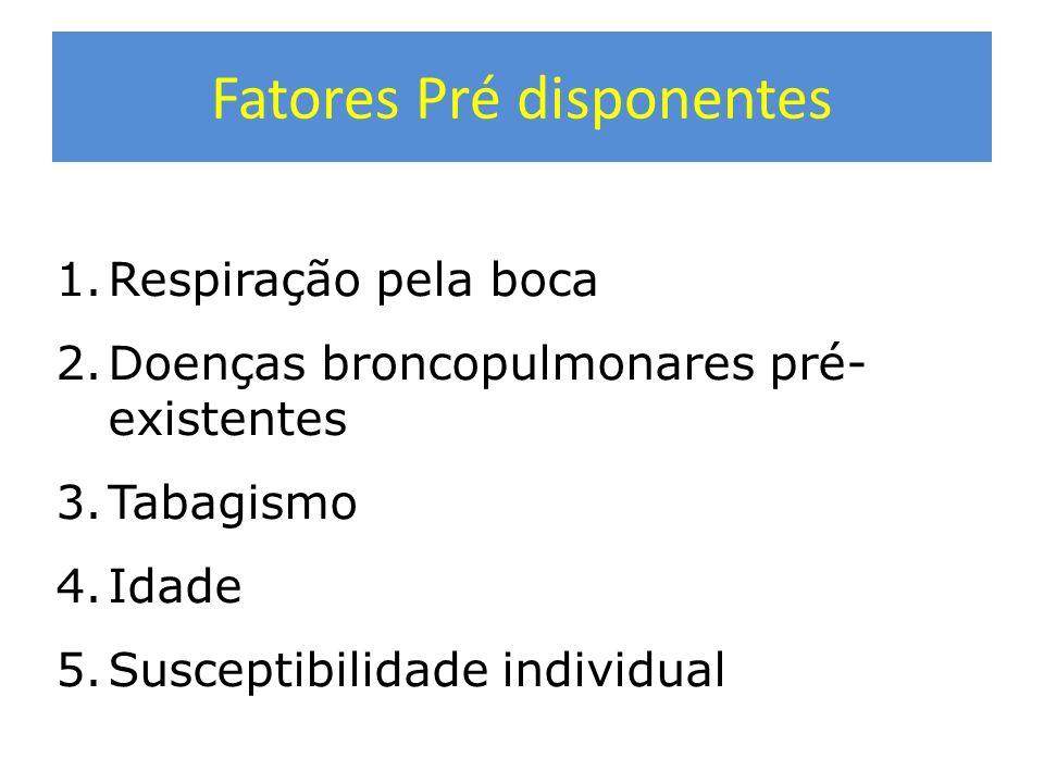 Fatores pré disponentes 1.Respiração pela boca 2.Doenças broncopulmonares pré- existentes 3.Tabagismo 4.Idade 5.Susceptibilidade individual Fatores Pr