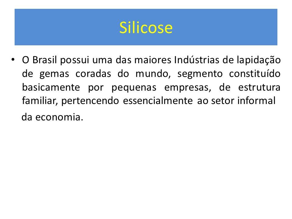 Silicose O Brasil possui uma das maiores Indústrias de lapidação de gemas coradas do mundo, segmento constituído basicamente por pequenas empresas, de