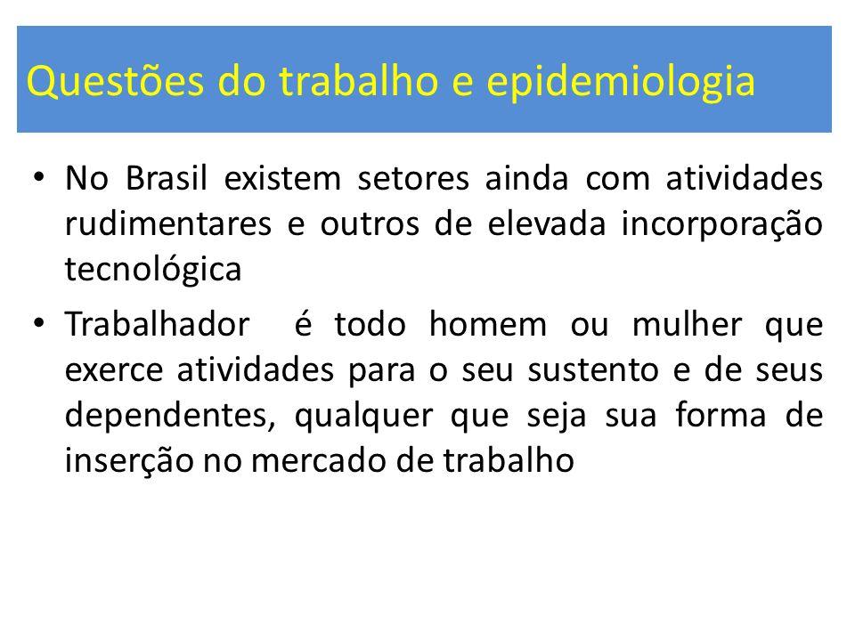 Questões do trabalho e epidemiologia No Brasil existem setores ainda com atividades rudimentares e outros de elevada incorporação tecnológica Trabalha