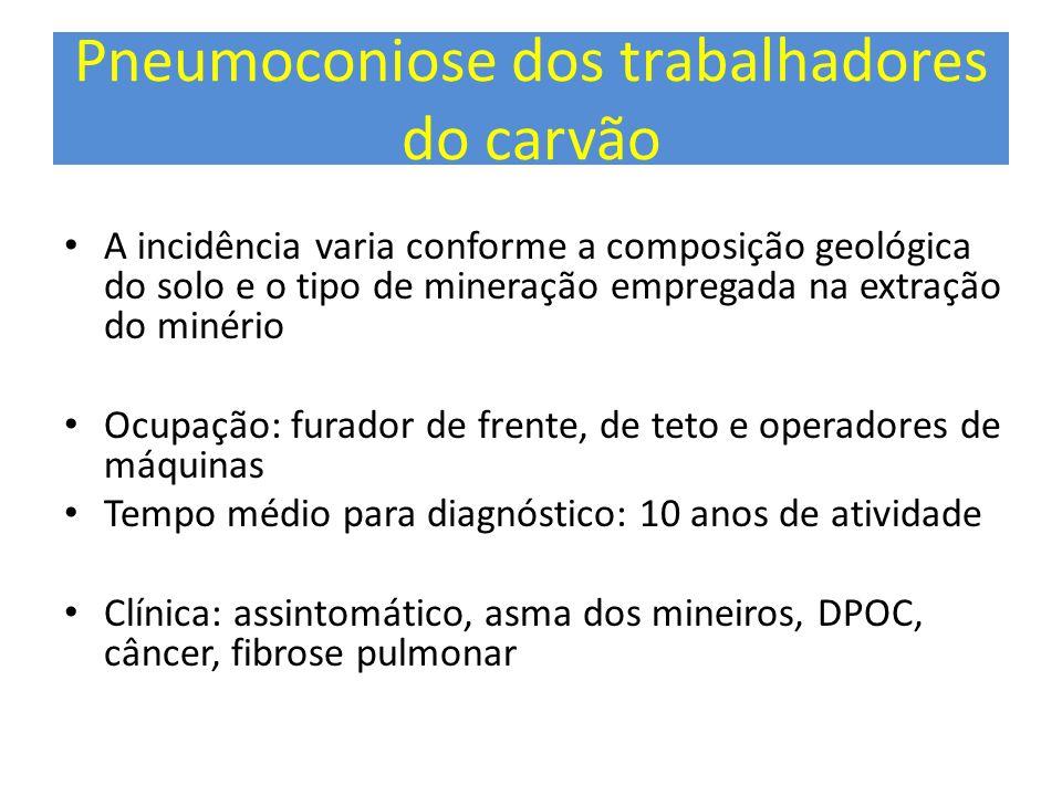 Pneumoconiose dos trabalhadores do carvão A incidência varia conforme a composição geológica do solo e o tipo de mineração empregada na extração do mi