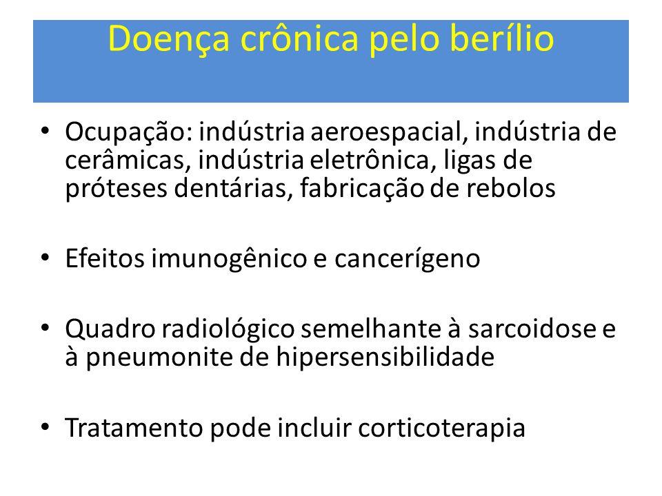 Doença crônica pelo berílio Ocupação: indústria aeroespacial, indústria de cerâmicas, indústria eletrônica, ligas de próteses dentárias, fabricação de