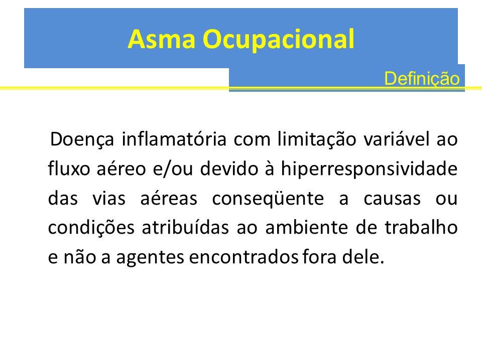 Asma Ocupacional Doença inflamatória com limitação variável ao fluxo aéreo e/ou devido à hiperresponsividade das vias aéreas conseqüente a causas ou c