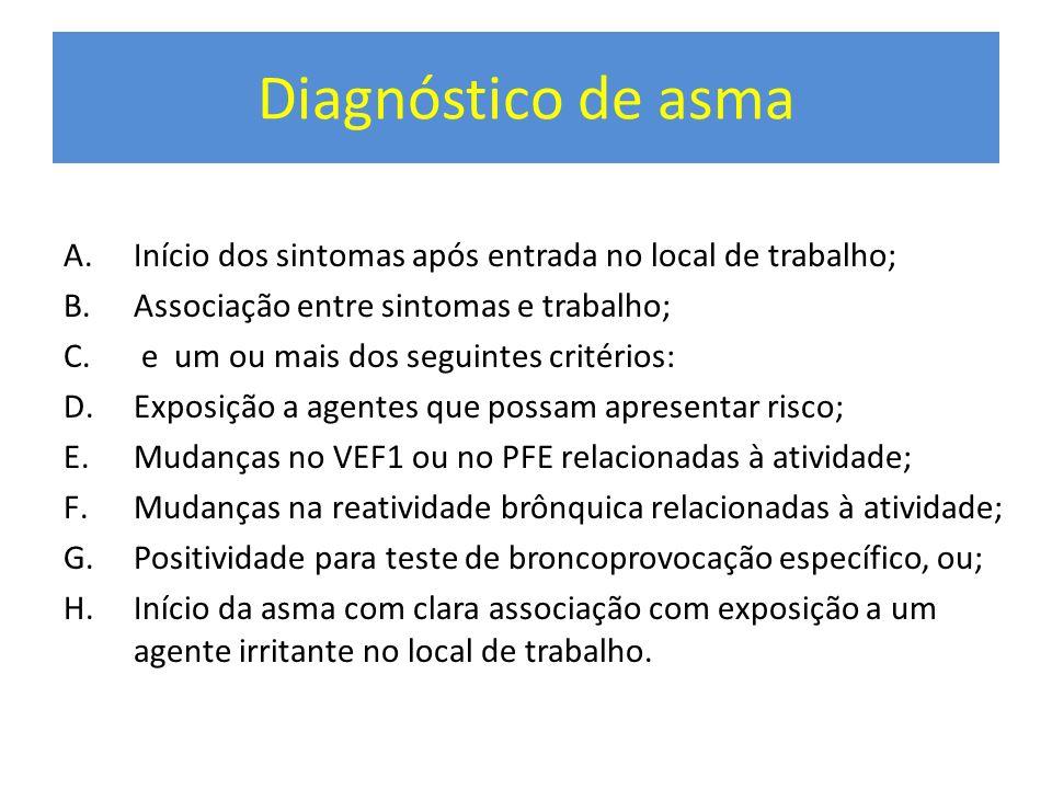 Diagnóstico de asma A.Início dos sintomas após entrada no local de trabalho; B.Associação entre sintomas e trabalho; C. e um ou mais dos seguintes cri