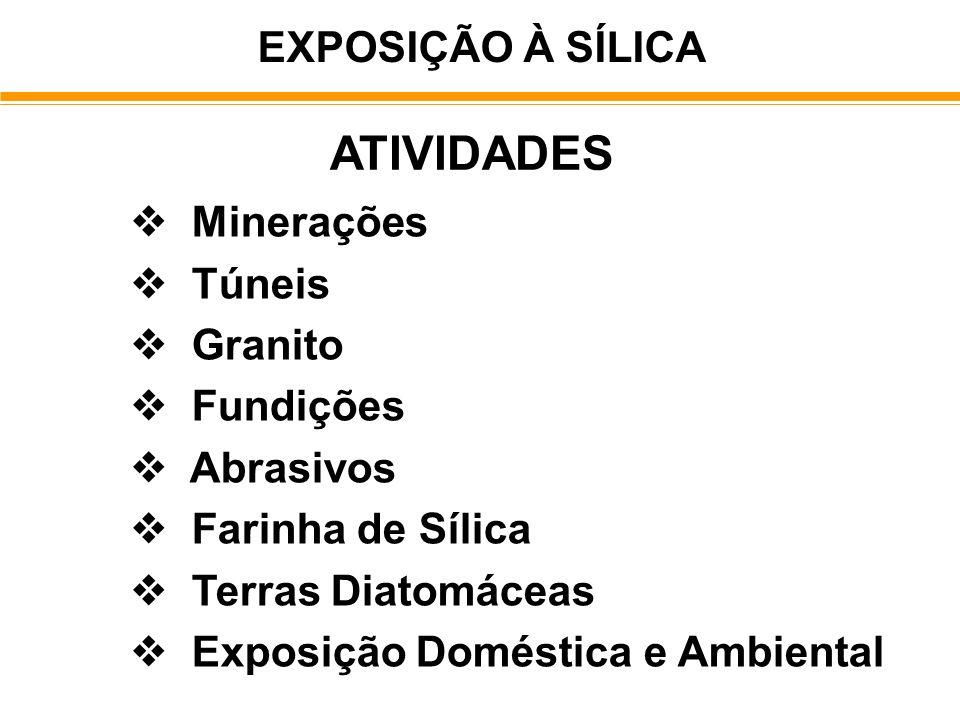EXPOSIÇÃO À SÍLICA ATIVIDADES Minerações Túneis Granito Fundições Abrasivos Farinha de Sílica Terras Diatomáceas Exposição Doméstica e Ambiental