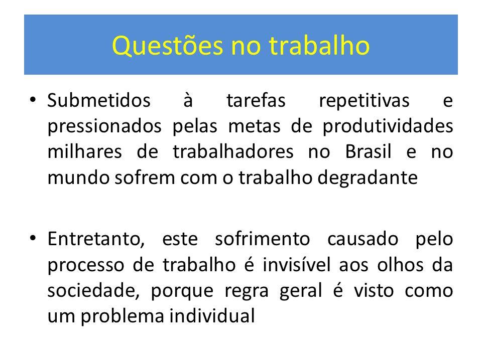 Questões no trabalho Submetidos à tarefas repetitivas e pressionados pelas metas de produtividades milhares de trabalhadores no Brasil e no mundo sofr