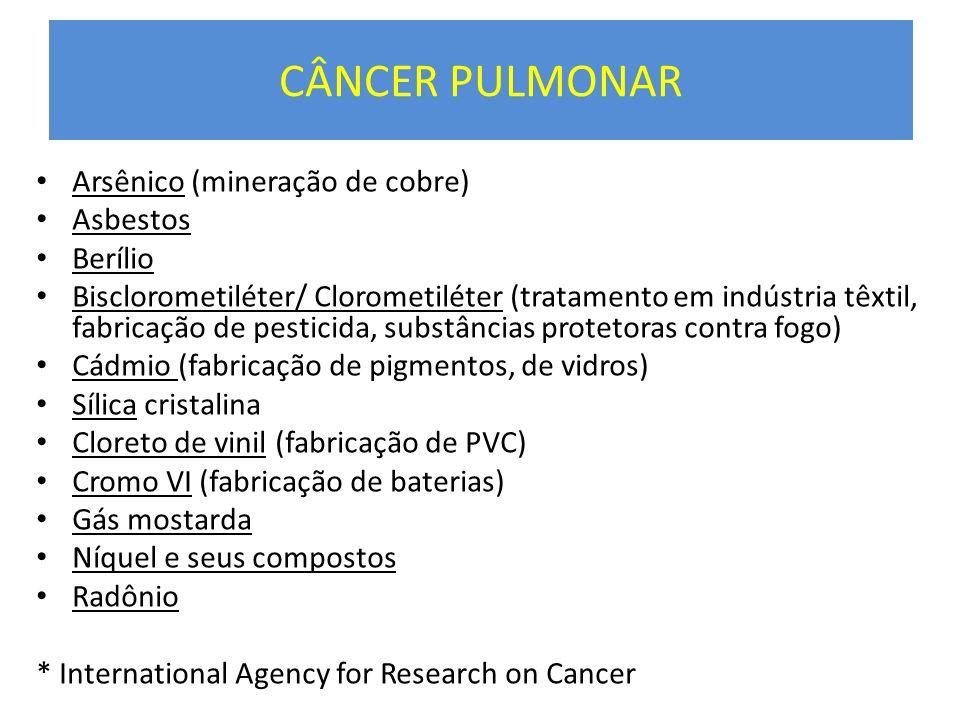 CÂNCER PULMONAR Arsênico (mineração de cobre) Asbestos Berílio Bisclorometiléter/ Clorometiléter (tratamento em indústria têxtil, fabricação de pestic