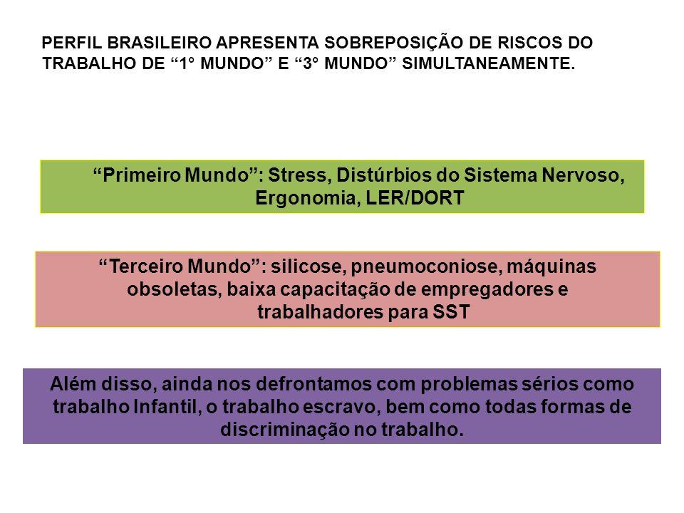 PERFIL BRASILEIRO APRESENTA SOBREPOSIÇÃO DE RISCOS DO TRABALHO DE 1° MUNDO E 3° MUNDO SIMULTANEAMENTE. Primeiro Mundo: Stress, Distúrbios do Sistema N