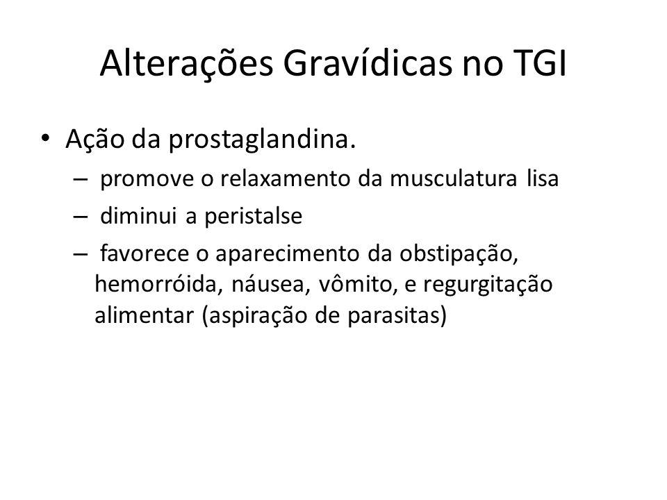 Alterações Gravídicas no TGI Ação da prostaglandina. – promove o relaxamento da musculatura lisa – diminui a peristalse – favorece o aparecimento da o