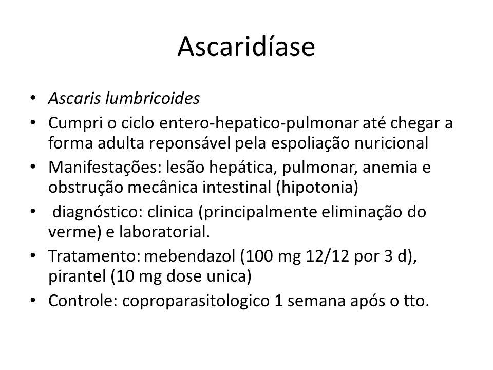 Ascaridíase Ascaris lumbricoides Cumpri o ciclo entero-hepatico-pulmonar até chegar a forma adulta reponsável pela espoliação nuricional Manifestações