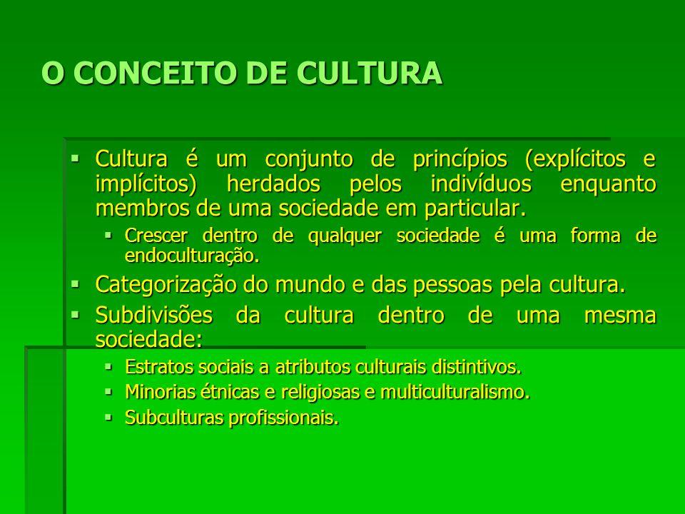 O CONCEITO DE CULTURA Cultura é um conjunto de princípios (explícitos e implícitos) herdados pelos indivíduos enquanto membros de uma sociedade em particular.