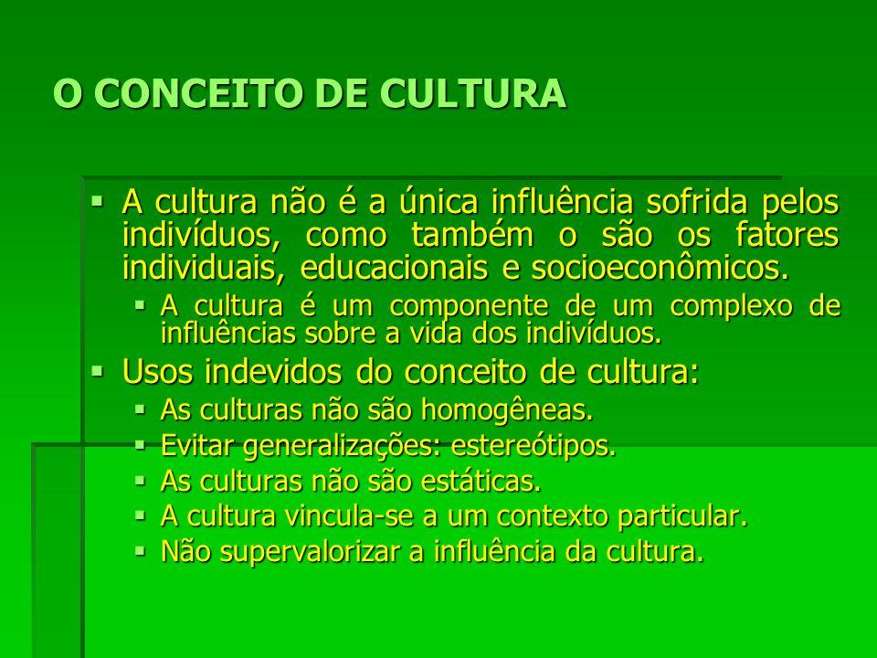 O CONCEITO DE CULTURA A cultura não é a única influência sofrida pelos indivíduos, como também o são os fatores individuais, educacionais e socioeconômicos.