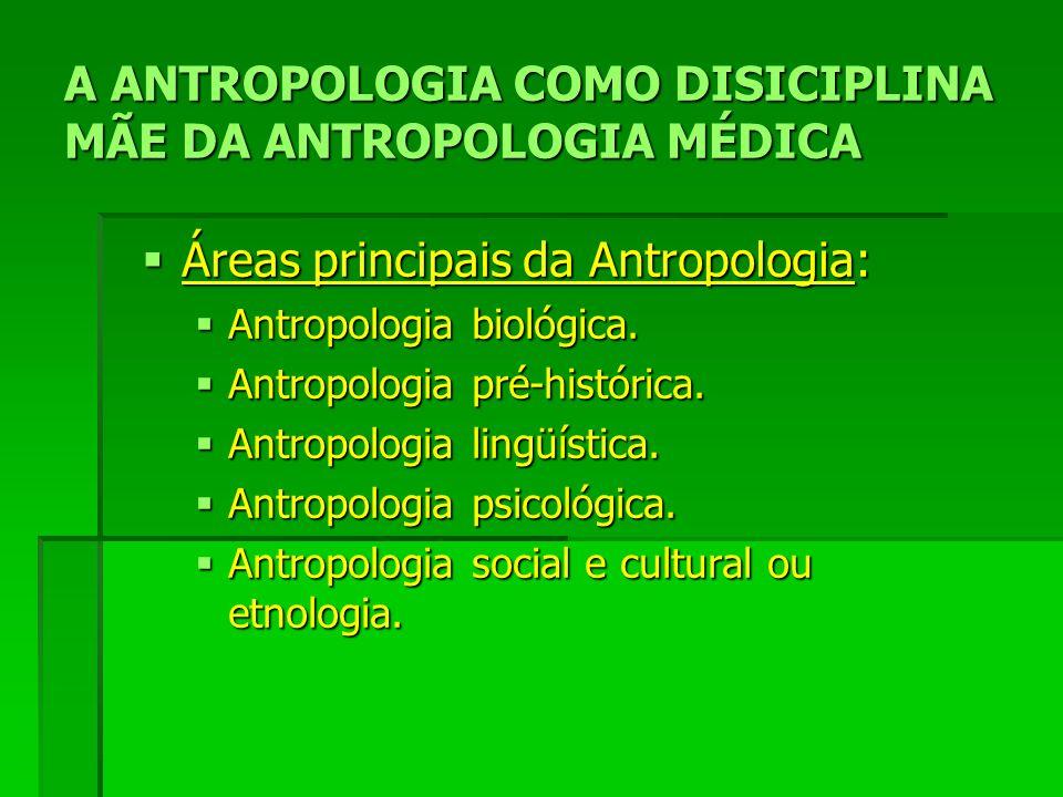 A ANTROPOLOGIA COMO DISICIPLINA MÃE DA ANTROPOLOGIA MÉDICA Áreas principais da Antropologia: Áreas principais da Antropologia: Antropologia biológica.