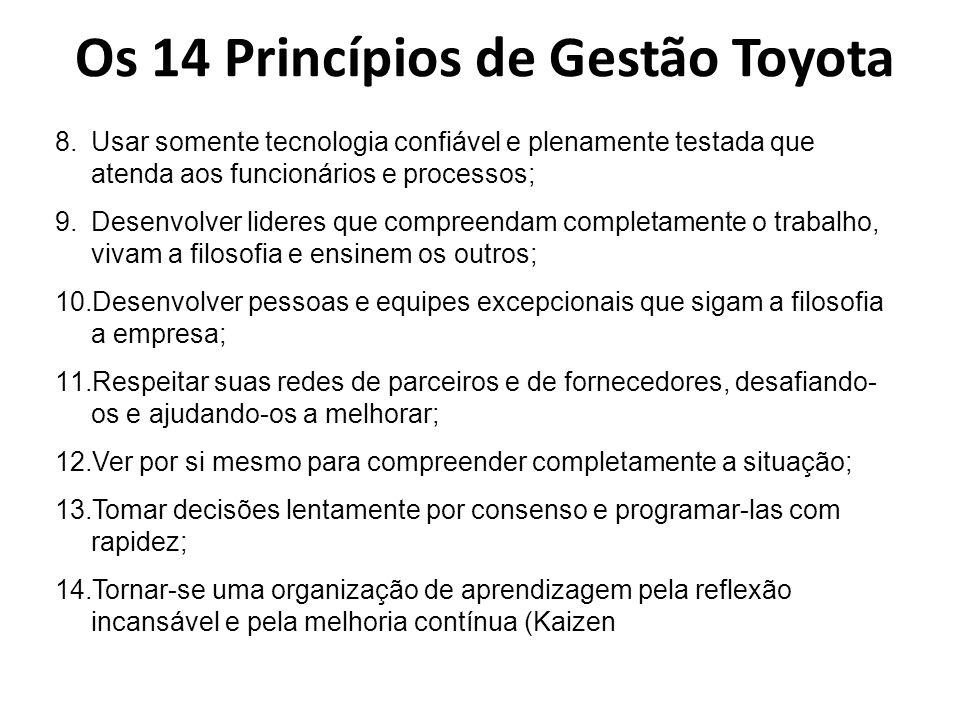 Os 14 Princípios de Gestão Toyota 8.Usar somente tecnologia confiável e plenamente testada que atenda aos funcionários e processos; 9.Desenvolver lide