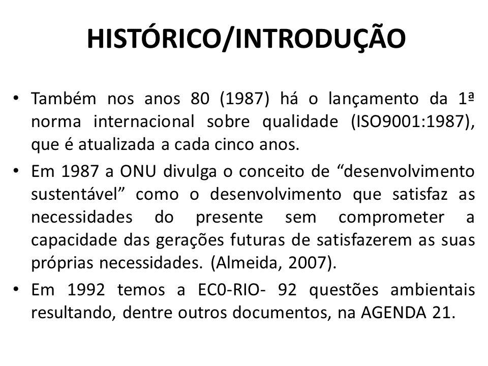 HISTÓRICO/INTRODUÇÃO Também nos anos 80 (1987) há o lançamento da 1ª norma internacional sobre qualidade (ISO9001:1987), que é atualizada a cada cinco
