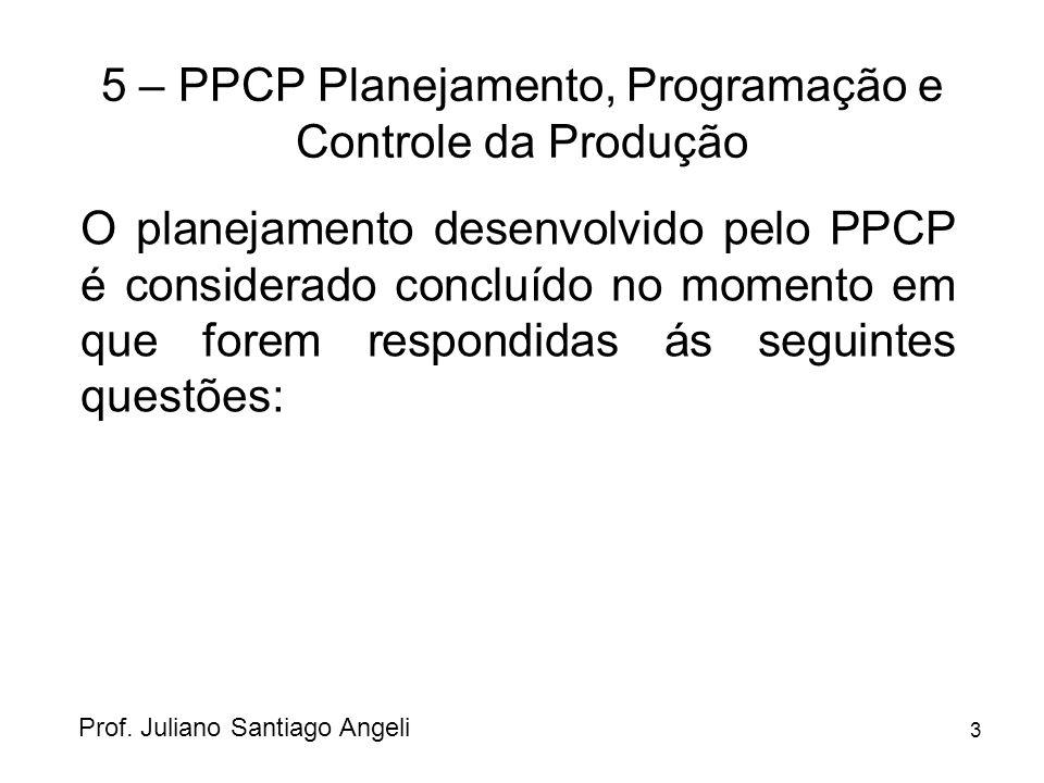 3 5 – PPCP Planejamento, Programação e Controle da Produção O planejamento desenvolvido pelo PPCP é considerado concluído no momento em que forem resp