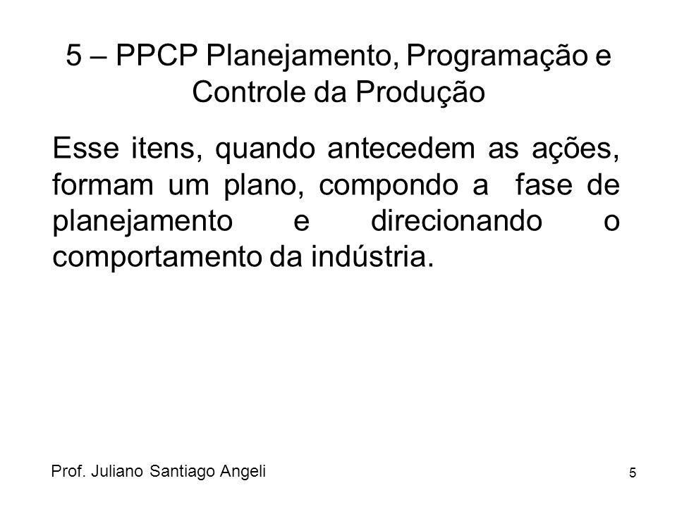5 5 – PPCP Planejamento, Programação e Controle da Produção Esse itens, quando antecedem as ações, formam um plano, compondo a fase de planejamento e