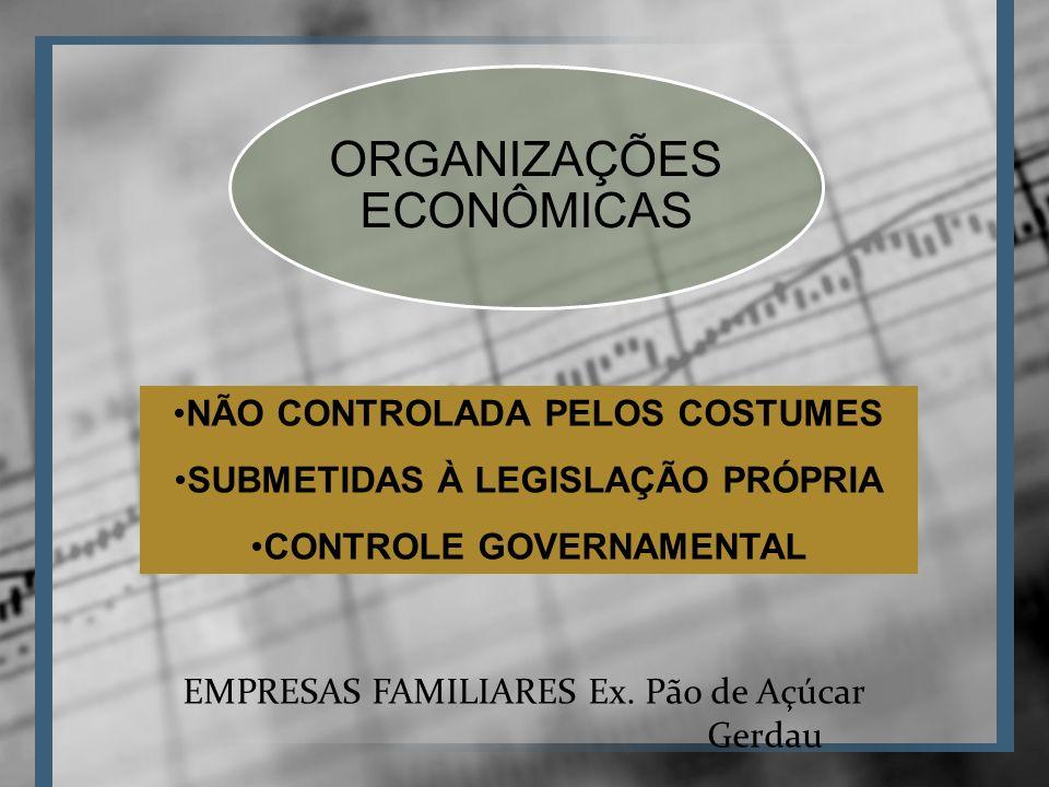 ORGANIZAÇÕES ECONÔMICAS NÃO CONTROLADA PELOS COSTUMES SUBMETIDAS À LEGISLAÇÃO PRÓPRIA CONTROLE GOVERNAMENTAL EMPRESAS FAMILIARES Ex.