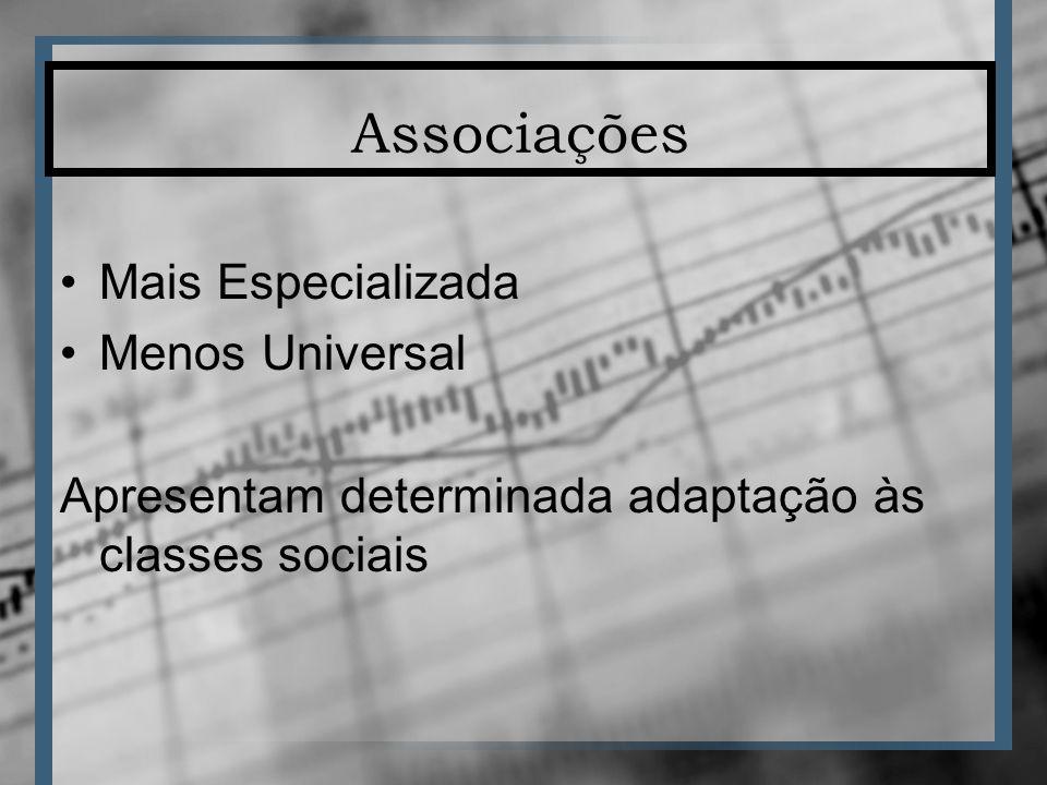 Associações Mais Especializada Menos Universal Apresentam determinada adaptação às classes sociais