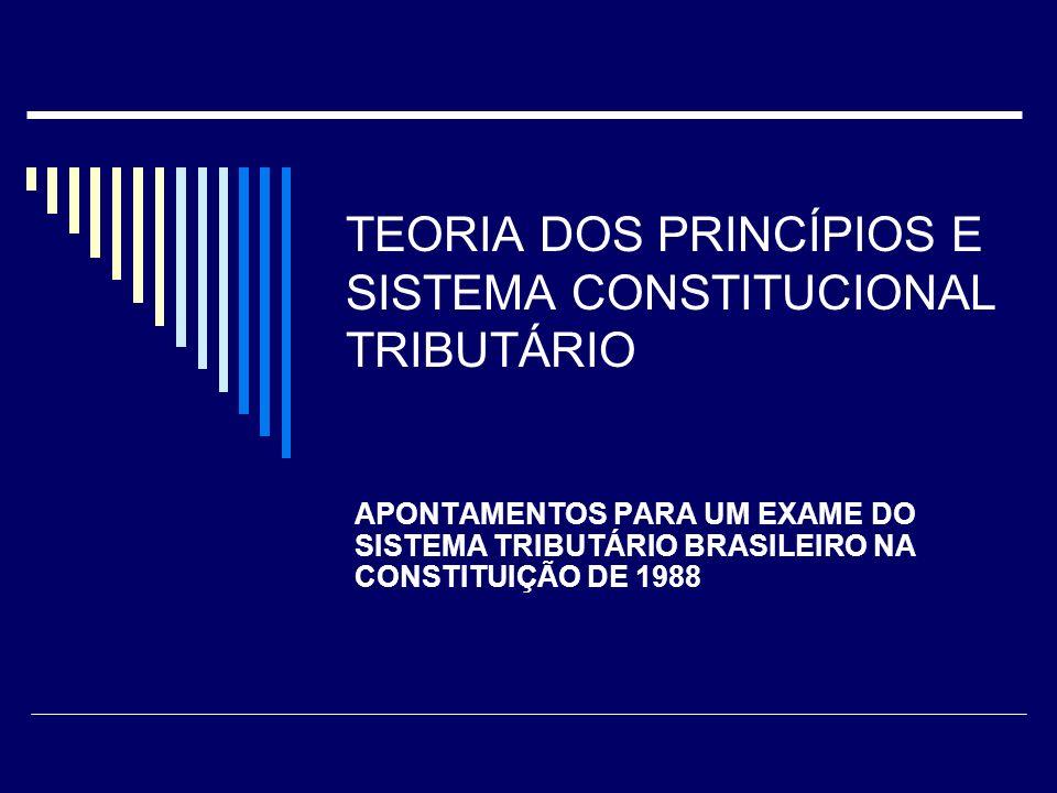TEORIA DOS PRINCÍPIOS E SISTEMA CONSTITUCIONAL TRIBUTÁRIO APONTAMENTOS PARA UM EXAME DO SISTEMA TRIBUTÁRIO BRASILEIRO NA CONSTITUIÇÃO DE 1988