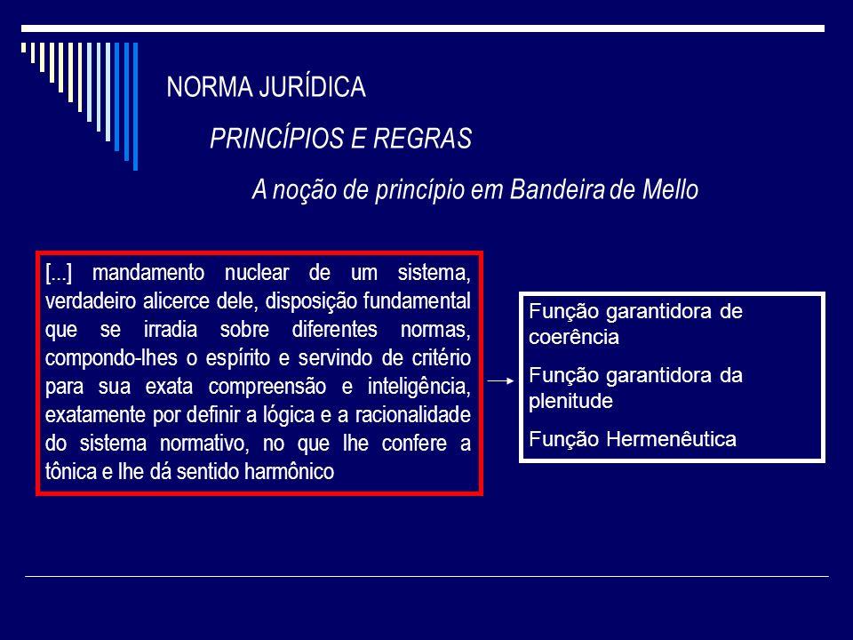NORMA JURÍDICA PRINCÍPIOS E REGRAS A noção de princípio em Bandeira de Mello [...] mandamento nuclear de um sistema, verdadeiro alicerce dele, disposi